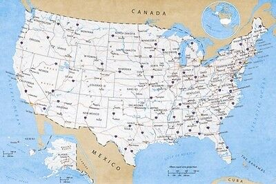 USA ROAD MAP POSTER (61x91cm)  NEW WALL ART