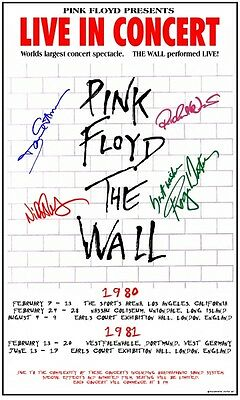 """Pink Floyd """"The Wall """"tour box office Concert Poster SIGNATURES"""