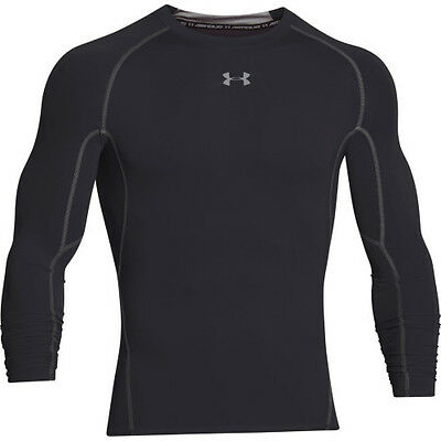 Under Armour Heatgear Ls Compression Mens Base Layer Top - Black All Sizes