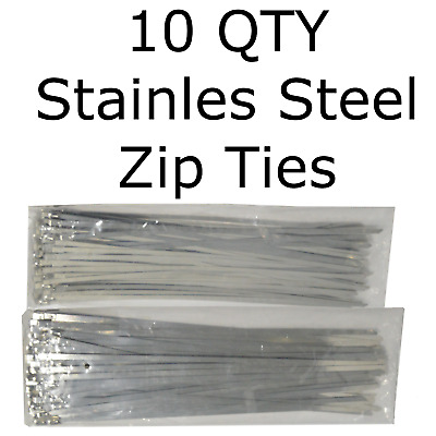 """10 Stainless Steel 12"""" Cable Zip Ties Metal Self Locking Straps Exhaust Bands"""