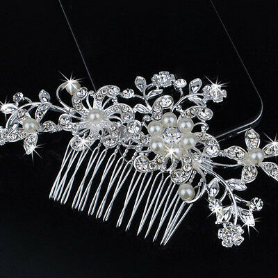 Bridal Wedding Flower Pearls Hair Comb Clip Diamante Crystal Rhinestone Women's