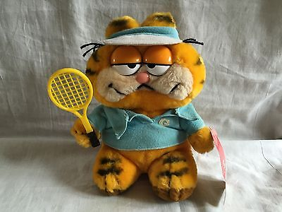 ~ GARFIELD PLUSH ~ armchair athlete - TENNIS ~ Vintage 80S ~ tagged ~ MULTI BUY