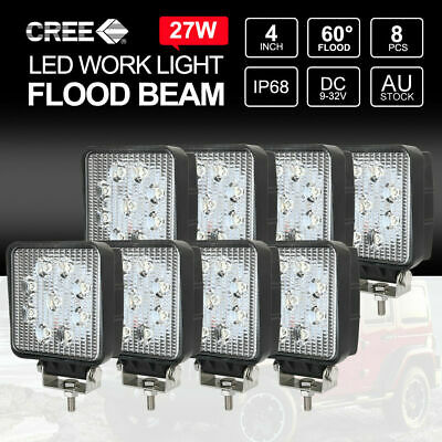 8PCS 27W FLOOD LED Work Lights Off Road 12V 24V Boat Camping Square 4inch Bar