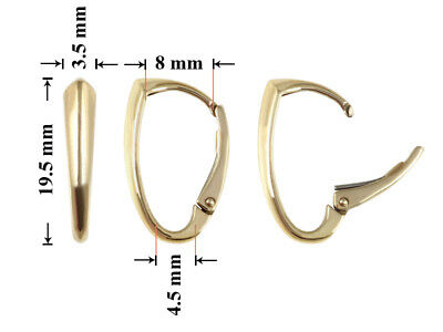 Sterling Silver Gold Plated Leverback Earrings Hoops 19.5x8mm * Findings