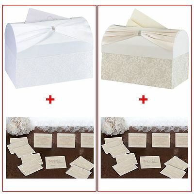Elegant Sash & Rhinestones Wedding Card Box With 48 Country Lace Guest Cards