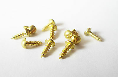 """Small / Miniature Brass Roundhead wood screws(10pk)Size 2 G x 1/4"""" or 3/8"""" long"""