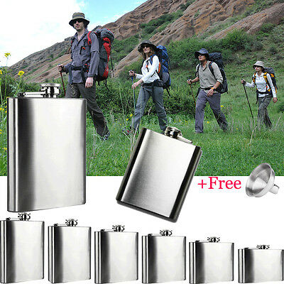 4/5/6/7/8/10 Oz Stainless Steel Hip Liquor Alcohol Travel Camp Flask Cap Funnel