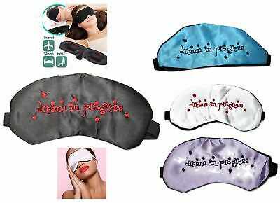 Soft Padded Satin Eye Blindfold Sleep Bed Room Dreaming Travel Rest Night Mask
