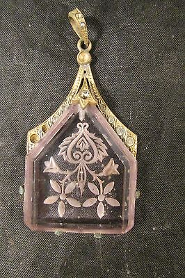 Antique Vintage Czech Etched Glass Pendant with Brass Holder Amethyst Color