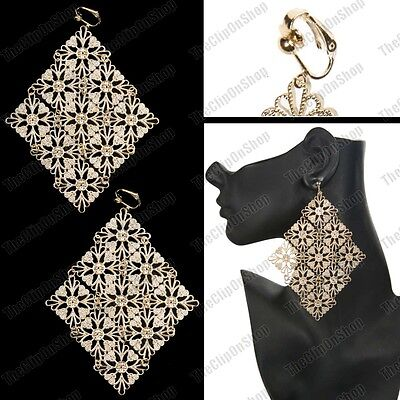 "CLIP ON large 5""long ORNATE FILIGREE big GOLD fashion EARRINGS statement HUGE"