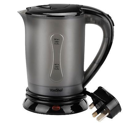 VonShef Electric Portable Dual Voltage Travel Jug Kettle 0.5L with 2 Cups