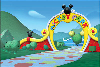 7x5FT Mickey Mouse Park Clubhouse Gate Photo Studio Background Backdrop Vinyl