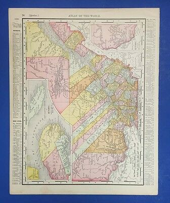 Antique Rand & Mcnally Map Of Ontario And Quebec 1895