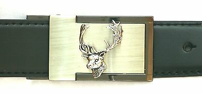 Fallow Deer Head  Belt Buckle and Leather Belt in Gift Tin Ideal Hunting Present