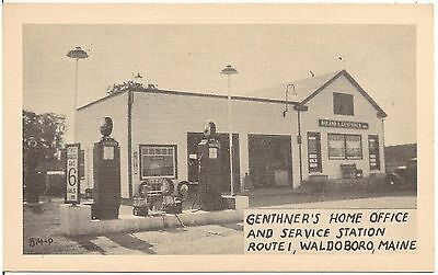 Genther's Service Station in Waldoboro ME Postcard Gas Pumps