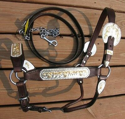 Dark Oil Silver Show Halter with Gold Accents & Matching Lead Shank