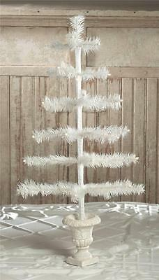 "Bethany Lowe 26"" Ivory Feather Christmas Tabletop Tree in Urn Base"