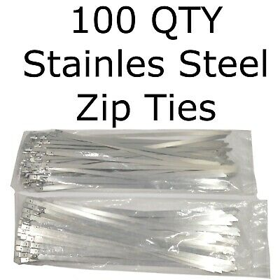 """100 Stainless Steel 14"""" Cable Zip Ties Metal Self Locking Straps Exhaust Bands"""
