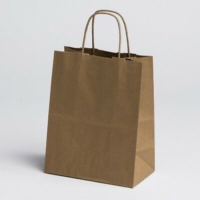 8 x 10 Medium Paper Kraft Retail Merchandise Shopping Bags w/ Handles 100 pcs