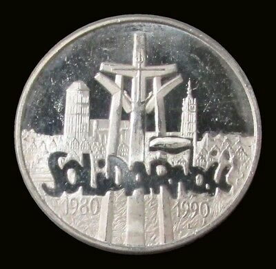 1990 Silver Poland 100,000 Zlotch Solidarity 1 Oz Coin