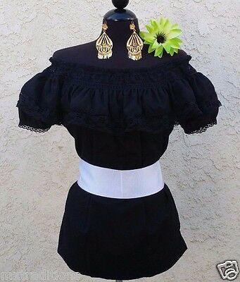 Mexican Black Adelita Blouse On/Off Shoulder w/Small White Sash. Blusa Adelita
