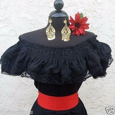 Mexican Black Adelita Blouse On/Off Shoulder w/Small Red Sash. Blusa Adelita
