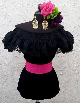 Mexican Black Adelita Blouse On/Off Shoulder w/Small Pink Sash. Blusa Adelita