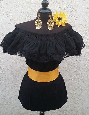 Mexican Black Adelita Blouse On/Off Shoulder w/Small Yellow Sash. Blusa Adelita