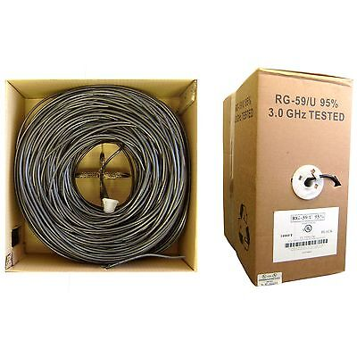 RG59U 20AWG, Solid Coaxial Cable, Black, 1000 ft, Pullbox 10X3-022TH-20