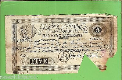 #d259. 1895  Stanford Spalding & Boston Bank 5 Pound Banknote #k7731