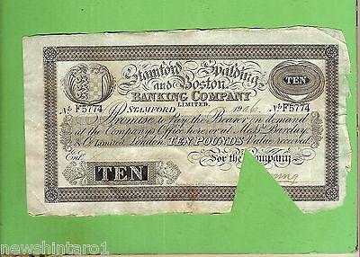 #d259. 1906  Stanford Spalding & Boston Bank 10  Pound Banknote #f5774
