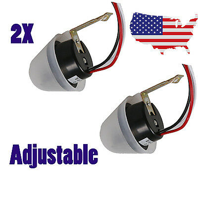 2x Auto On Off Light Adjustable Switch Control Sensor DC/ AC 12V 10A Rainproof