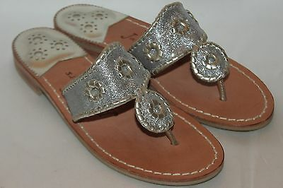 4b9a13b57 NEW JACK ROGERS Metallic Silver Glitter Leather NAVAJO Flip Flop Sandals 6   138