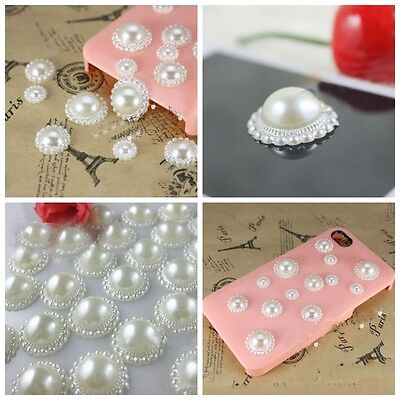 100Pcs Half Round Bead Flat Back Pearl Scrapbooking Phone Embellishment Craft