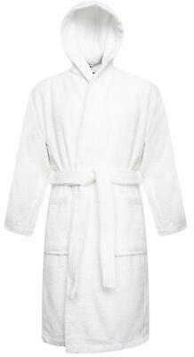 Kids 100% Cotton White Terry Towelling Hooded Bathrobe Bath Robe Gown Ages 2-13