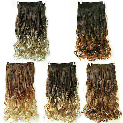 "Women New Gift 24"" Clip In Long Curly Wave Synthetic Ombre Hair Extensions"