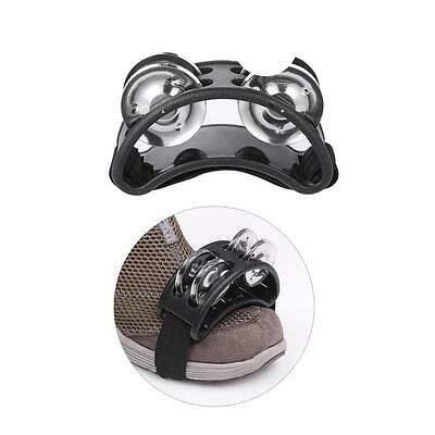 Foot Tambourine Percussion Instrument 2 Sets Metal Jingle Bell Black H9S7