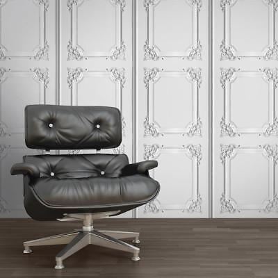 Wood Panel Wallpaper Ornate Stone Effect Washable In White & Grey Muriva