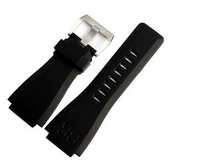 Rubber 24mm Strap Band & Silver Buckle For Bell & Ross Watch BR 01 03 BR01 BR03