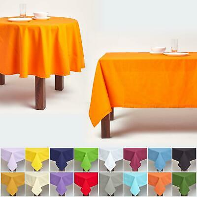 Plain Tablecloth 100% Cotton Fabric Tableware Cover Round White Table Linen