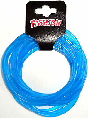 Pack of 12 Blue Gummy Bracelets Wristbands Bangles Boys Girls Mens Womens Ladies