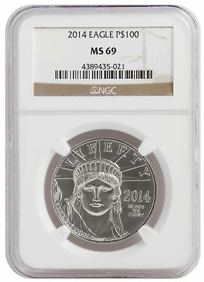 2014 - 1oz $100 Platinum American Eagle MS69 NGC Brown Label