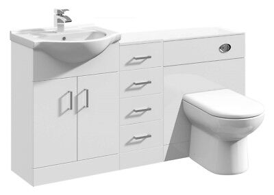 1450mm High Gloss White Bathroom Vanity Basin Cabinet, Cupboard & BTW Toilet