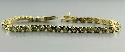Solid 14k Yellow Gold 0.65 cwt Natural Diamond Tennis Bracelet 6.5 inch