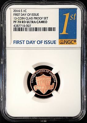 2016 S Proof Lincoln Cent, NGC PF 70 RD Ultra Cameo, First Day of Issue!
