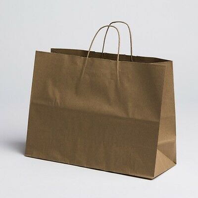 16 x12 Large Paper Kraft Retail Merchandise Shopping Bags w/ Handles 100 pcs