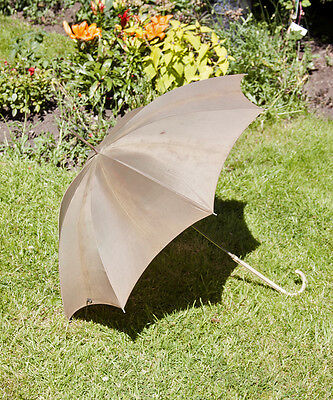 Vintage 1950s Khaki Umbrella with Long Stem &Hooked Vinyl Handle - FREE UK P&P