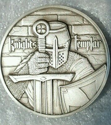 The Knights Templar 2 oz 999 Silver Round Antiqued Freemason in hoc signo vinces