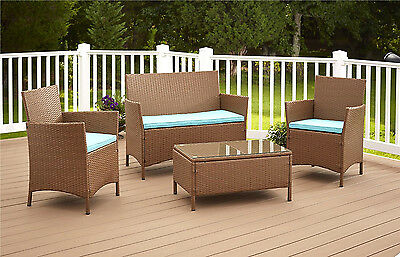 Patio Poly Rattan Outdoor Furniture Set Outside Yard New Resin Deck Black/cream