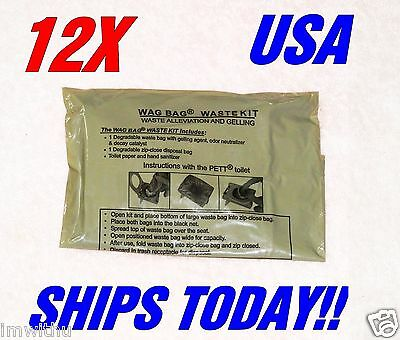 12 Usgi Surplus Wag Bags Solid Waste Disposal Ice Fishing Camping Emergency